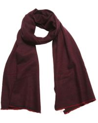 Anderson & Sheppard - Burgundy And Navy Birdseye Weave Cashmere Scarf - Lyst