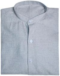 Anderson & Sheppard - Blue Collarless Puppytooth Cotton And Cashmere Shirt - Lyst