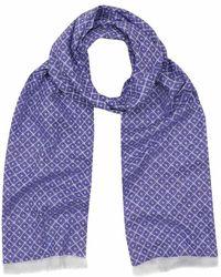Anderson & Sheppard - Indigo Blue Tubular Cotton Tile Scarf - Lyst