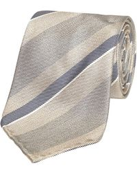 Fumagalli 1891 - Beige And Grey Stripe Malibu Silk 5-fold Tie - Lyst