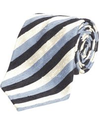 Fumagalli 1891 - Blue, Black And White Stripe Textured Florida Silk 5-fold Tie - Lyst