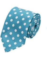 Salvatore Piccolo - Electric Blue Polka Dot Silk Tie - Lyst