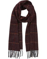 Gieves & Hawkes - Burgundy Check Cashmere And Merino Wool Scarf With Fringing - Lyst