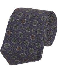 Fumagalli 1891 - Navy And Green Foulard Florida Silk 5-fold Tie - Lyst