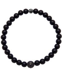 Nialaya - Black Bracelet With Matte Onyx And Black Cz Diamond - Lyst