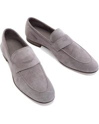 Cifonelli - Grey Suede Penny Loafer - Lyst