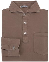 Naked Clothing - Light Brown Pique Long Sleeve Stretch Cotton Polo Shirt - Lyst