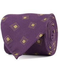 Rubinacci - Purple And Sand Frame Silk Tie - Lyst