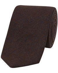 Drake's - Brown And Blue Wool Tie With Herringbone Weave - Lyst