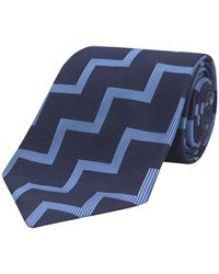 Turnbull & Asser - Navy And Light Blue Striped Zigzag Silk Tie - Lyst