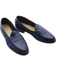 fb804bc2cef Armando Cabral Lizard-effect Leather Loafers in Blue for Men - Lyst