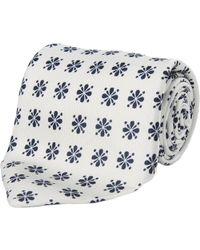 Calabrese 1924 - White And Blue Floral Silk Tie - Lyst