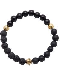 Nialaya - Beaded Bracelet With Matte Onyx, Lava Stone And Agate - Lyst