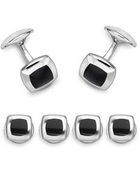 Deakin & Francis - Sterling Silver Cushion Dress Stud Set Onyx - Lyst