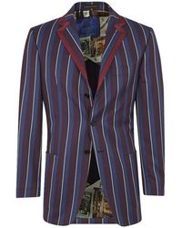 New & Lingwood - Blue Striped Single Breasted 'newton Boating' Jacket - Lyst