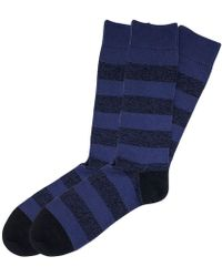 The Workers Club - Purple And Black Cotton Block Stripe Socks 2-pack - Lyst