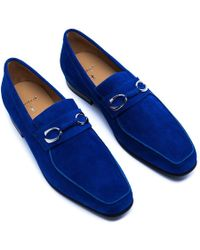 Corthay - Blue Suede Horse Bit Loafers - Lyst