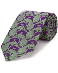 New & Lingwood - Purple Peacock Silk Tie - Lyst