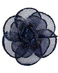 Chanel - Glitter Tulle Camellia Brooch Gold - Lyst