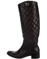 ad28690f7c9 Tory Burch - Leather Quilted Knee-high Boots Gold - Lyst