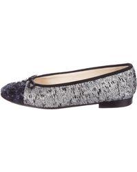 Chanel - Tweed Cap-toe Flats Silver - Lyst