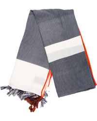 Closed - Tassel-accented Printed Scarf Navy - Lyst