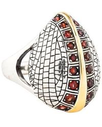 Elizabeth and James - Garnet Cocktail Ring Silver - Lyst