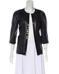 Chanel - Patent-trimmed Leather Jacket - Lyst