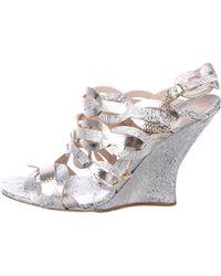 Dries Van Noten - Wedge Sandals Silver - Lyst