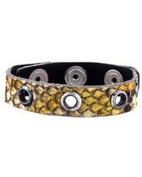 Chanel - Cc Snakeskin Wrap Bracelet Silver - Lyst