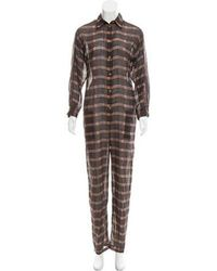 Étoile Isabel Marant - Plaid Button-up Jumpsuit Orange - Lyst