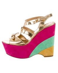 Boutique Moschino - Leather Wedge Sandals Gold - Lyst