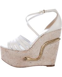 Roberto Cavalli   Snake-accented Wedge Sandals Gold   Lyst