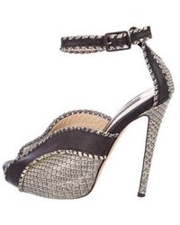 Chrissie Morris - Embossed Ankle-strap Sandals Black - Lyst