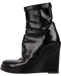 Ann Demeulemeester - Leather Wedge Boots - Lyst
