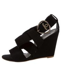 Chanel - Canvas Crossover Wedges Black - Lyst