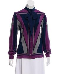 Alexis Mabille - Silk Long Sleeve Top Purple - Lyst