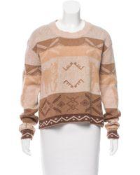 Torn By Ronny Kobo - Printed Long Sleeve Sweater Tan - Lyst