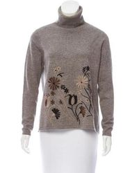 Co. - Embroidered Wool-cashmere Turtleneck Grey - Lyst