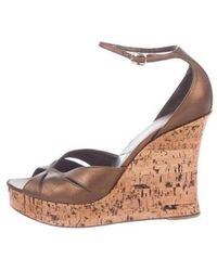 Dior - Leather Wedges Bronze - Lyst
