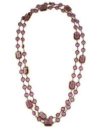 Chanel - Crystal Chicklet Sautoir Necklace Gold - Lyst