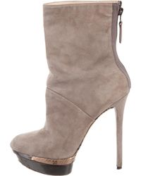 B Brian Atwood - Suede Platform Ankle Boots - Lyst