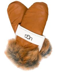 UGG - Leather Touch Screen Mittens W/ Tags Cognac - Lyst