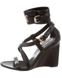 Brian Atwood - Leather Wedge Sandals - Lyst