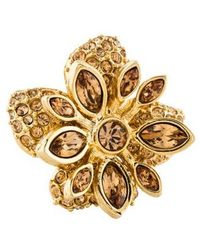 Judith Leiber - Crystal Flower Cocktail Ring Gold - Lyst
