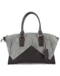 Narciso Rodriguez - Claire Leather And Suede Satchel Silver - Lyst