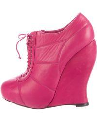 Nina Ricci - Leather Wedge Booties Magenta - Lyst