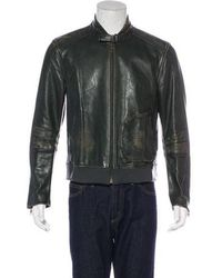 Marc Jacobs - Distressed Leather Jacket Green - Lyst
