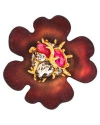 Alexis Bittar - Lucite & Crystal Floral Brooch Gold - Lyst