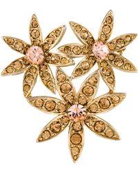 Kenneth Jay Lane - Crystal Triple Flower Brooch Gold - Lyst